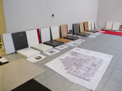 Board samples for the new exhibition